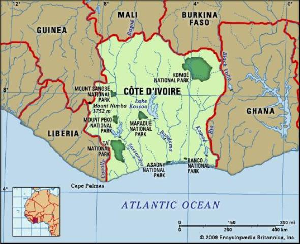 w.Map of Ivory Coast | Society of African Missions
