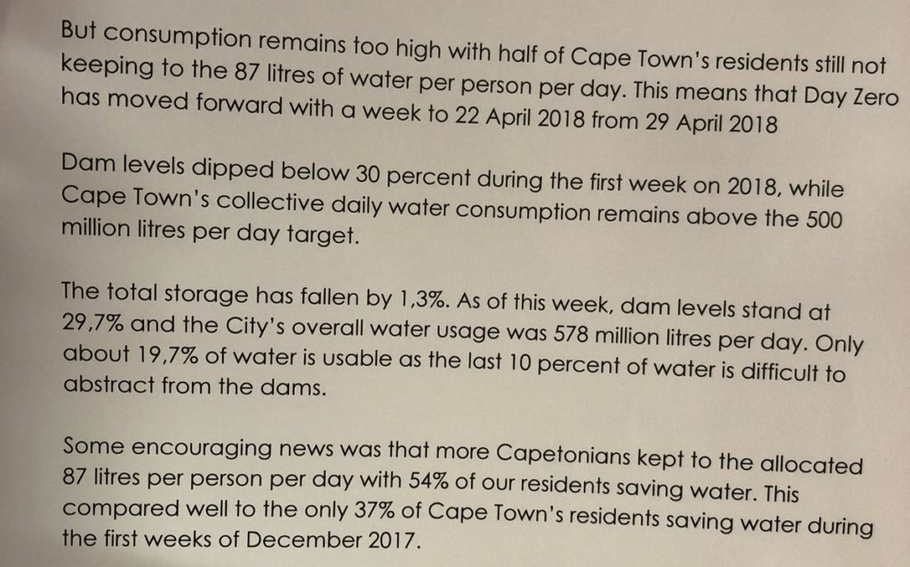 Cape Town Facing Critical Water Crisis – Day Zero is 22