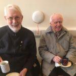 Fr. DJ Ryan and Fr Bernie Cotter SMA enjoy a cuppa at the tree planting ceremony